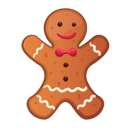 Holiday gingerbread man cookie. Cookie in shape of man with colored icing. New year and xmas celebration