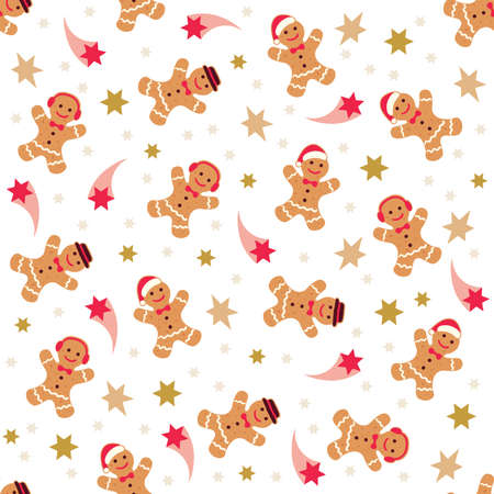 Holiday gingerbread man cookie seamless background. Cookie in shape of man with colored icing Vector Illustration