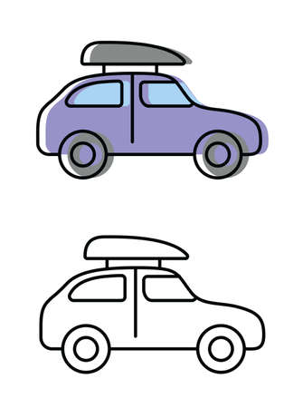 car. attributes of a good trip. vector icons in flat style