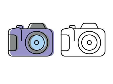 camera. attributes of a good trip. vector icons in flat style