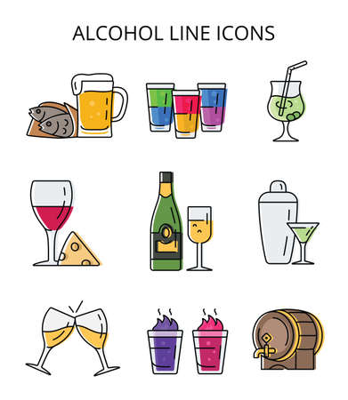 alcoholic drinks and cocktails. set of vector icons in flat style Vecteurs