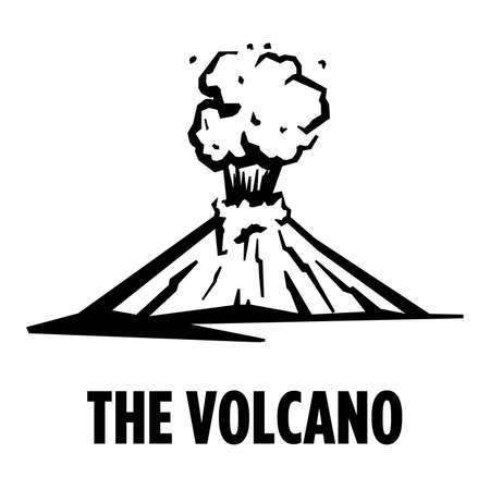 silhouette of the volcano at the time of the eruption. simple vector illustration isolated on white background