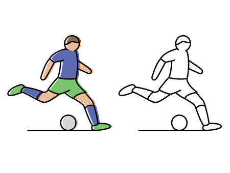 football. the athlete hits the ball. vector icons in flat style Ilustración de vector