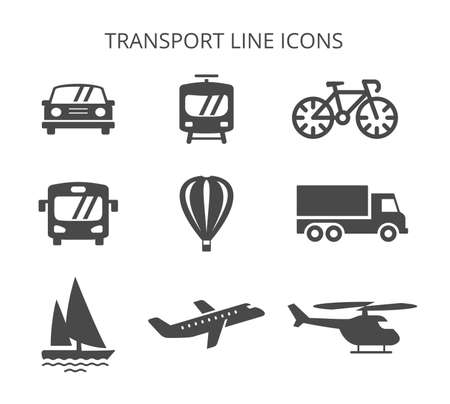 land, water and air transport set of vector icons in flat style