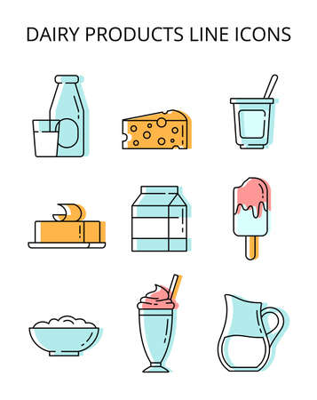 milk products. set of colored vector icons in flat style 矢量图像