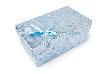 Blue gift box isolated on white Stock Photo - 16062646