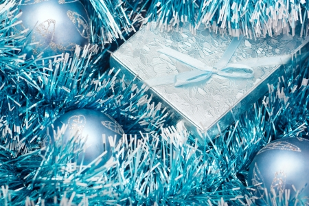 Gift box and blue christmas ball Stock Photo - 16134839