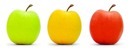 Multi-colored apples, traffic light