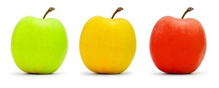 Multi-colored apples, traffic light