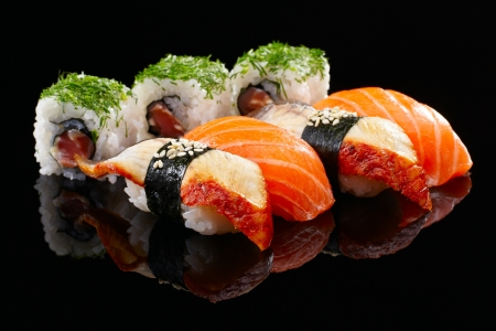 Sushi set on black background photo