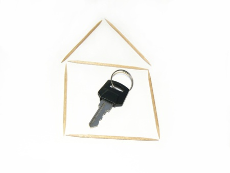 A key inside of a small house from toothpicks photo