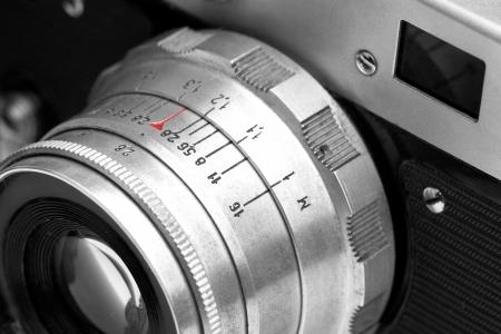 medium close up: Old analog photo camera close-up