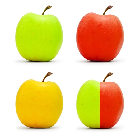 Four apples isolated on white photo