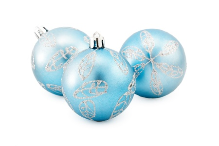 Three christmas ball isolated on white Stock Photo - 17260288