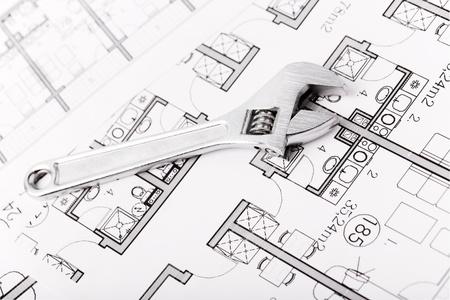Plumbing Equipment On House Plans Stock Photo