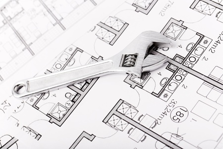 Plumbing Equipment On House Plans Stock Photo