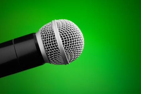 shure: Professional microphone on green background