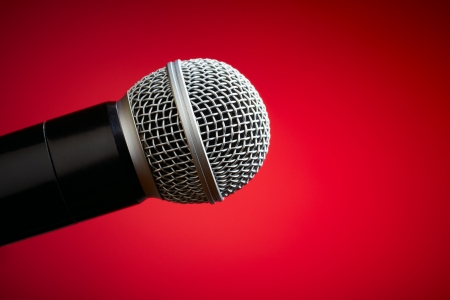 shure: Professional microphone on red background