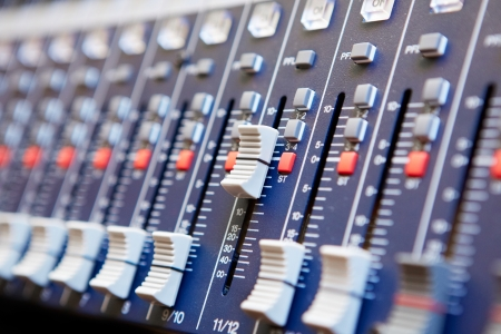 Sound mixer control panel, close-up Stock Photo - 17260434