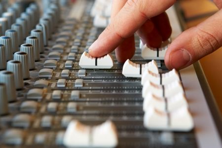 Hand and sound mixer photo