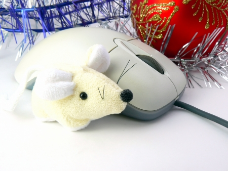 hat new year s eve: Two mousies beside Stock Photo