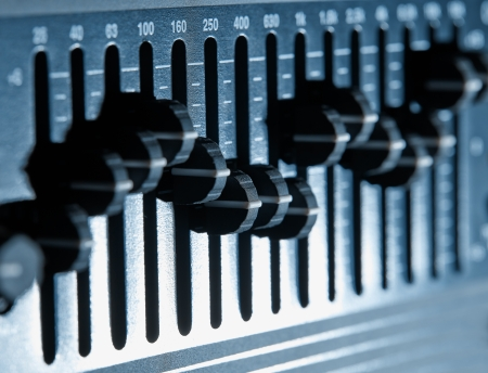 sound mixer: Control panel of a graphic equalizer Stock Photo