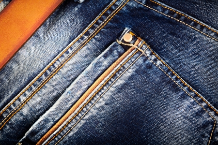 Jeans background with belt Stock Photo