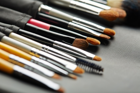 Set of cosmetic brushes in a black leather case photo