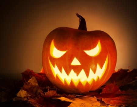 Halloween-Kürbis mit Blättern auf orange Hintergrund Standard-Bild - 23039336