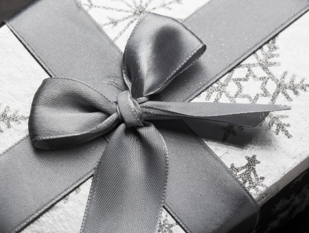 Silver gift box with ribbon and bow photo