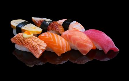 Sushi set on black Stock fotó