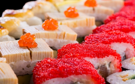 Sushi set with caviar, tobiko and omelet close-up Stock Photo