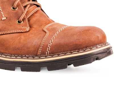 Brown boot isolated on white  Stock Photo