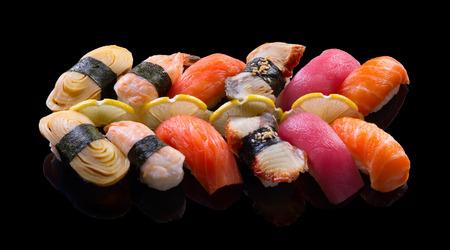 Nigiri Sushi set on black background Stock Photo