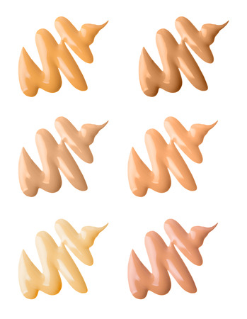 Make-up foundation swatches isolated on white