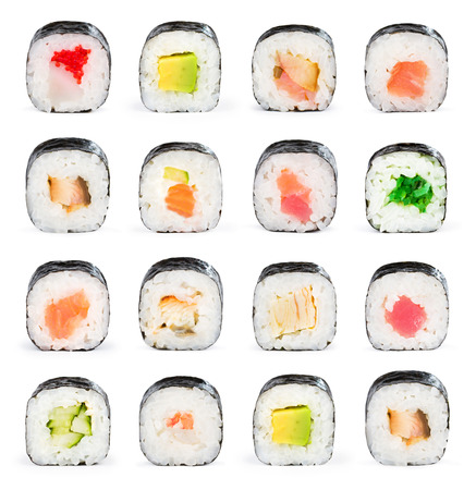 Sushi maki isolated on white for menu