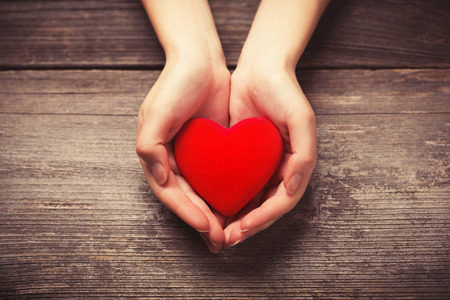 Female hands giving red heart photo