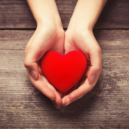 symbol hand: Frauenh�nden, die rotes Herz Lizenzfreie Bilder