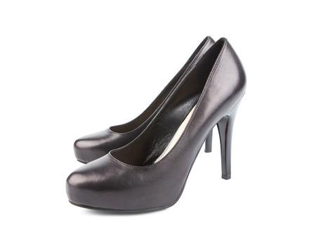 mujeres negras: Las mujeres negras zapatos aislados en blanco Foto de archivo