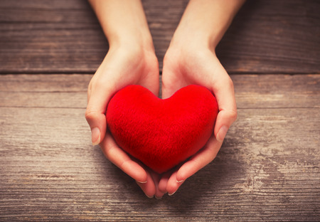 saint valentin coeur: Mains des femmes donnant coeur rouge
