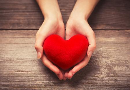 cuore in mano: Mani femminili dando cuore rosso