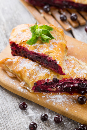 strudel: Strudel with blackberry close-up