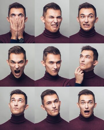 Set of young mans portraits with different emotions and gestures Foto de archivo