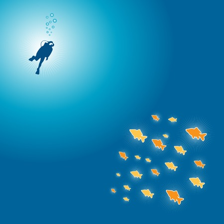 Little shining colour fishes and diver on the ocean underwater vector illustration file