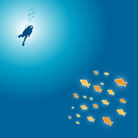 Peu brillant couleur poissons et plongeur sur l'océan sous l'illustration vectorielle fichier
