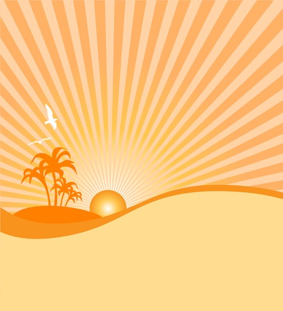 Vintage tropical island sunset on the horizon on a summer day vector illustration file Vector