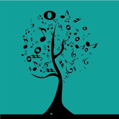 pentagramma musicale: un albero nero composto da notazione musicale nero in un blackground blu