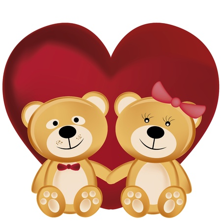 two beautiful and cheerful teddy bears hugging each other in valentine