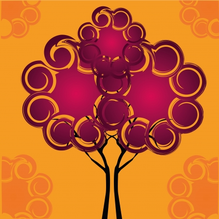 similitude: a beautiful symmetric tree composed by  purple clouds