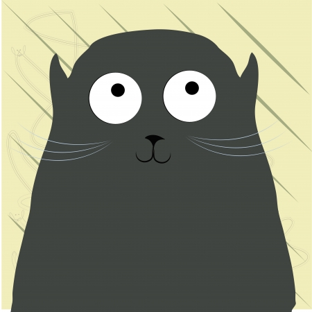 a gray black cat with big eyes in a yellow background Vector
